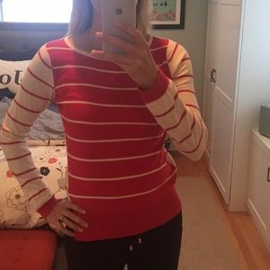 Red & cream striped Anthro Sparrow sweater, small